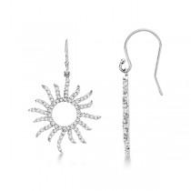 Dangling Drop Diamond Sun Earrings 14k White Gold (0.75ct)