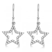 Dangle Diamond Star Earrings 14k White Gold (0.34ct)