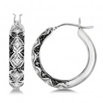 Ladies White & Fancy Black Diamond Hoop Earrings 14K White Gold 0.25ct