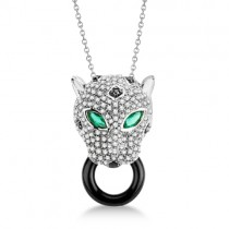Onyx, Emerald & Diamond Panther Pendant Necklace 14K White Gold 5.12ct