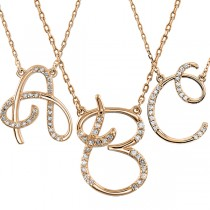 Personalized Diamond Cursive Initial Pendant Necklace 14k Rose Gold