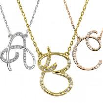 Personalized Diamond Cursive Initial Pendant Necklace 14k Rose Gold