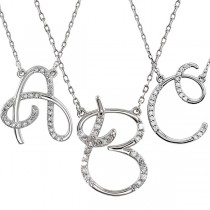 Personalized Diamond Cursive Initial Pendant Necklace Sterling Silver