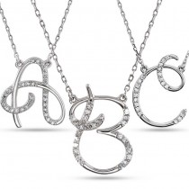 Personalized Diamond Cursive Initial Pendant Necklace 14k White Gold
