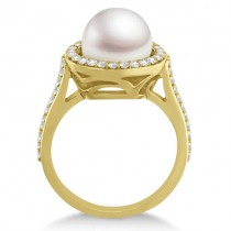Freshwater Cultured Pearl & Diamond Halo Ring 14K Y. Gold (9.50-10mm)