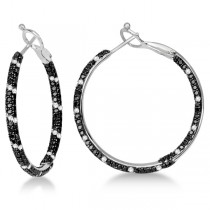 Black & White Diamond Double Sided Hoop Earrings 14K W. Gold 2.00ctw