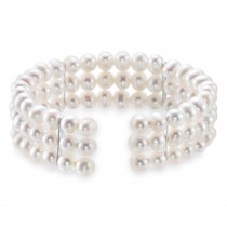 Pearl Bangle Bracelet 925 Sterling Silver (5.0-6.0 mm)