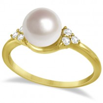 Freshwater Cultured Pearl & Diamond Accented Ring 14K Y. Gold (7.5-8mm)