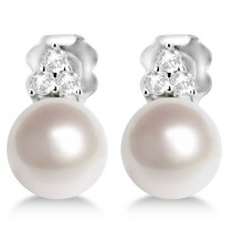 Freshwater Cultured Pearl & Diamond Stud Earrings 14K W. Gold (7-7.5mm)