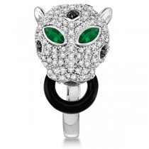 Emerald & Onyx Panther Ring w/ White & Black Diamonds 14K Gold 1.93ct