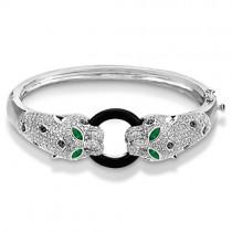 Black Onyx, Emerald & Diamond Panther Bracelet 14K White Gold 3.01ctw