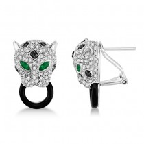 Black Onyx, Emerald & Diamond Panther Earrings 14K White Gold 1.26ctw