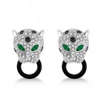 Black Onyx, Emerald & Diamond Panther Earrings 14K White Gold 1.26ctw
