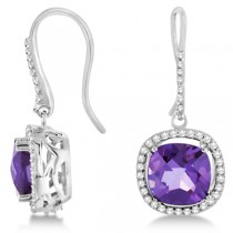 Cushion Amethyst & Round Diamond Earrings 14k White Gold 7.52ctw