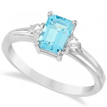 Emerald Cut Aquamarine & Diamond Engagement Ring 14k White Gold 1.01ct