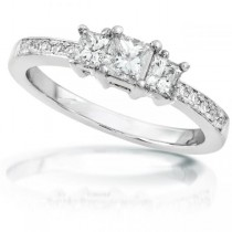 3-Stone Princess Cut Diamond Promise Ring 14k White Gold 1.05ct