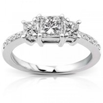 3-Stone Princess Cut Diamond Promise Ring 14k White Gold 0.55ct