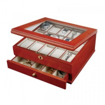 Walnut Finish Locking Wooden Watch Box & Jewelry Case. 15 compartments