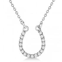 Diamond Horseshoe Pendant Necklace Platinum 0.10ct