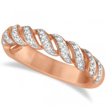 Twisted Wedding Anniversary Band with Diamonds 14K Rose Gold 0.20ct