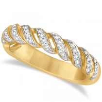 Twisted Wedding Anniversary Band with Diamonds 14K Yellow Gold 0.20ct