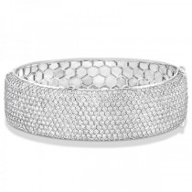Luxury Diamond Wide Bangle Bridal Bracelet 18k White Gold (15.25ct)