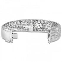 Luxury Diamond Wide Bangle Bridal Bracelet 18k White Gold (15.25ct)