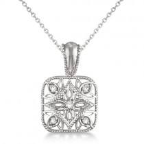 Antique Square Diamond Pendant Necklace Sterling Silver (0.05ct)