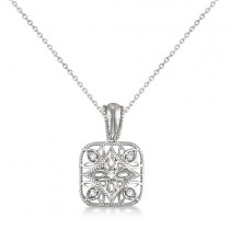 Antique Square Diamond Pendant Necklace Sterling Silver (0.05ct)|escape