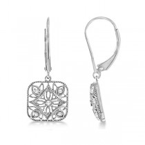 Antique Square Diamond Drop Earrings in 14k White Gold (0.10ct)