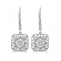 Antique Square Diamond Drop Earrings in 14k White Gold (0.10ct)|escape
