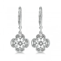 Diamond Four Leaf Clover Earrings in Sterling Silver (0.10ct)|escape