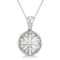 Vintage Circle Diamond Pendant Necklace Sterling Silver (0.05ct)