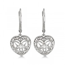 Vintage Lever Back Heart Diamond Earrings Sterling Silver (0.02ct)