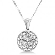 Circle Antique Diamond Pendant Necklace Sterling Silver (0.05ct)