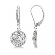 Antique Style Designer Diamond Earrings Sterling Silver (0.10ct)