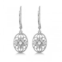 Vintage Style Designer Oval Diamond Earrings Sterling Silver (0.06ct)|escape