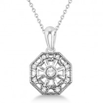 Designer Vintage Diamond Pendant Necklace Sterling Silver (0.04ct)