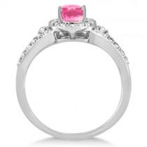 Halo Diamond and Pink Tourmaline Ring 14K White Gold (1.25ct)