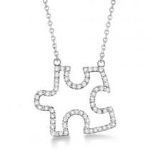 Diamond Puzzle Pendant Necklace 14k White Gold (0.33ct)