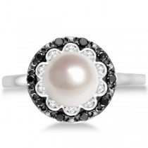 Freshwater Pearl Flower Ring w/ Black & White Diamonds 14K W. Gold 0.14cw