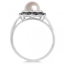 Freshwater Pearl Flower Ring w/ Black & White Diamonds 14K W. Gold 0.14cw