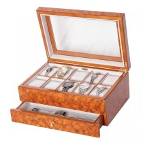 Burlwood Oak Finish Wooden Watch, Jewelry Box. 10 Removable Cushions