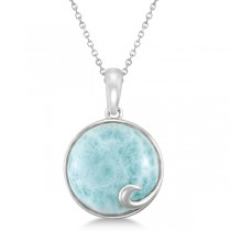 Round Genuine Larimar Pendant Necklace 14mm Gemstone Sterling Silver