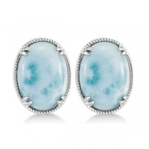 Vintage Oval Larimar Stud Earrings 16x12mm Gemstones Sterling Silver