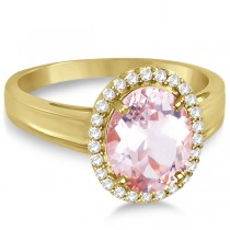 Diamond and Oval Pink Morganite Ring in 14K Yellow Gold (2.43ct)