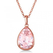 Pear Solitaire Morganite Pendant Necklace 14K Rose Gold (5.00tct)