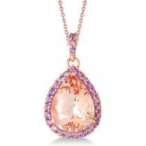 Amethyst and Morganite Pendant Necklace 14k Rose Gold (8.33ct)