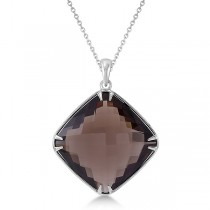 Cushion Cut Smoky Quartz Pendant Necklace Sterling Silver (20x20mm)