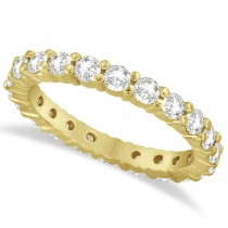 Round Moissanite Eternity Ring Anniversary Band 14K Yellow Gold 1.75ct